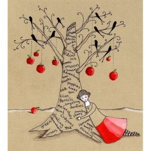 """When I wear my red skirt ...I write my favourite things on trees."""