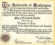 D- 1936 University of Washington Diploma