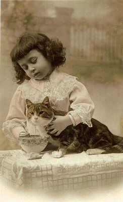 antique cat and girl